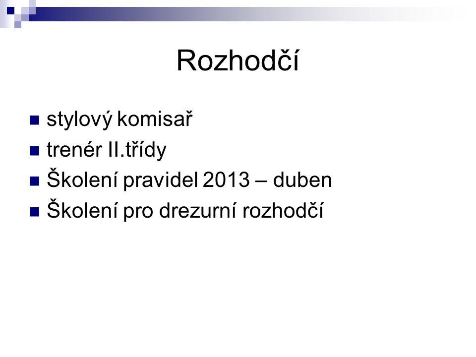 Rozhodčí stylový komisař trenér II.třídy Školení pravidel 2013 – duben Školení pro drezurní rozhodčí