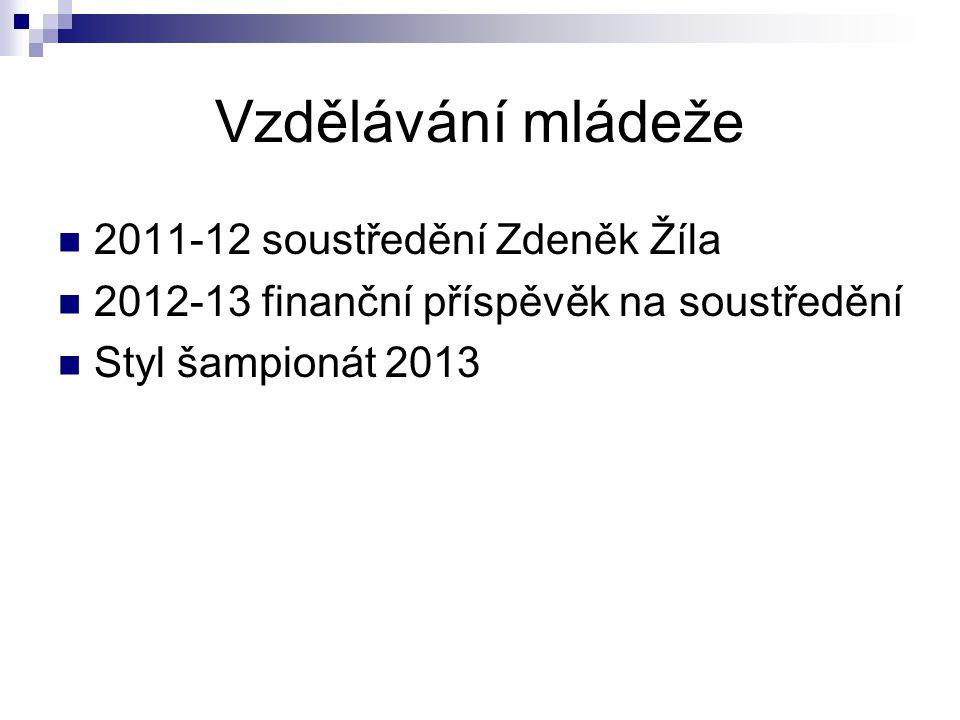 Vzdělávání mládeže 2011-12 soustředění Zdeněk Žíla 2012-13 finanční příspěvěk na soustředění Styl šampionát 2013