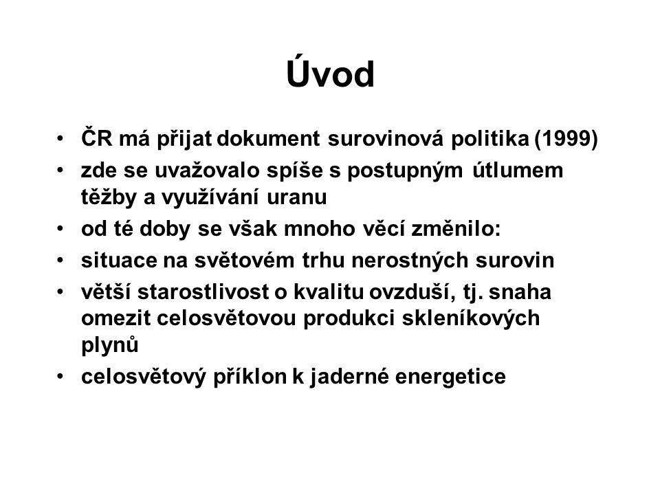 Úvod ČR má přijat dokument surovinová politika (1999) zde se uvažovalo spíše s postupným útlumem těžby a využívání uranu od té doby se však mnoho věcí změnilo: situace na světovém trhu nerostných surovin větší starostlivost o kvalitu ovzduší, tj.