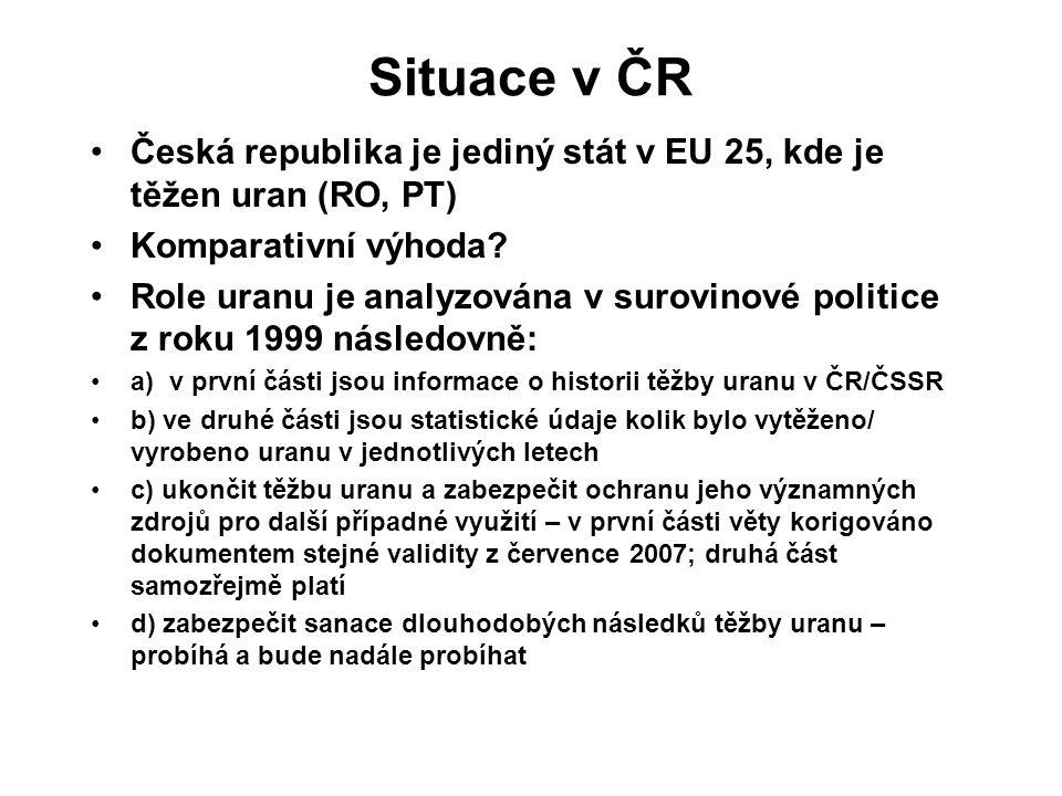 Situace v ČR Česká republika je jediný stát v EU 25, kde je těžen uran (RO, PT) Komparativní výhoda.