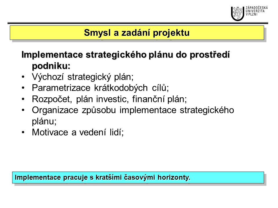 Krátkodobé cíle Plánování: Alokace zdrojů; Rozpočty; Finanční plány; Časové harmonogramy; Vedení lidí: Motivace; Kultura v organizaci;Organizování: Projektové řízení; Organizační struktury; Stanovení výkonnostních metrik; Podklady pro hodnocení a controlling Úkoly managementu při implementaci strategie FORMULACE STRATEGIE