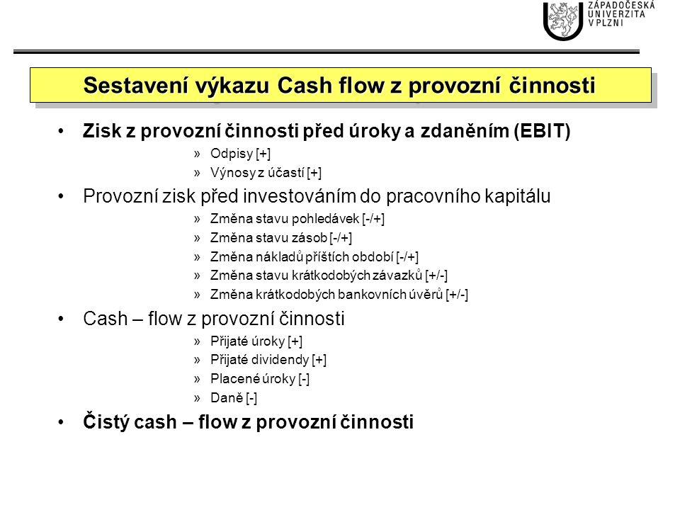 Cash – flow z investiční činnosti »Nákup společnosti [-] »Nákup neoběžných aktiv [-] »Tržby z prodeje neoběžných aktiv [+] Čistý cash – flow z investiční činnosti Sestavení výkazu Cash flow z investiční činnosti