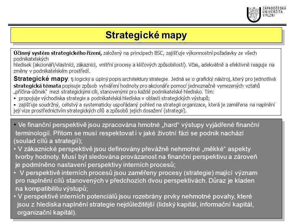 Řízení výkonnosti pomocí měřítek cílů a zpracovaného modelu příčin a důsledků mezi cíli jednotlivých perspektiv Finanční perspektiva Zákaznická perspektiva Interní procesy Perspektiva interního potenciálu Snížení nákladůZvýšení HV Zvýšení spolehlivosti produktu Standardizace dílů Výběr nových subdodavatelů Proškolení konstruktérů Modul standardizace v IS Výběr subdodavatelů v e-commerce 12 3 4 5 6 7 1.
