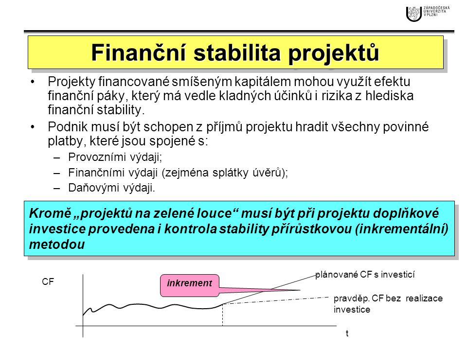 Pro kontrolu stability z pohledu investičního projektu je třeba dosazovat jen toky, které jsou generovány projektem.