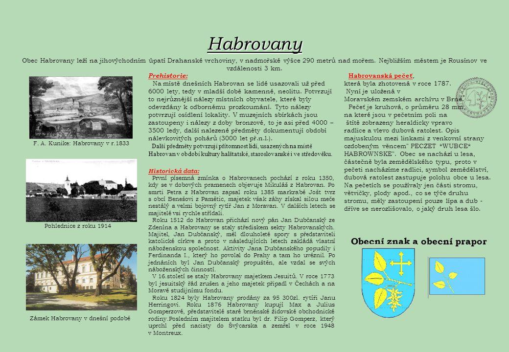 Habrovany Obec Habrovany leží na jihovýchodním úpatí Drahanské vrchoviny, v nadmořské výšce 290 metrů nad mořem. Nejbližším městem je Rousínov ve vzdá