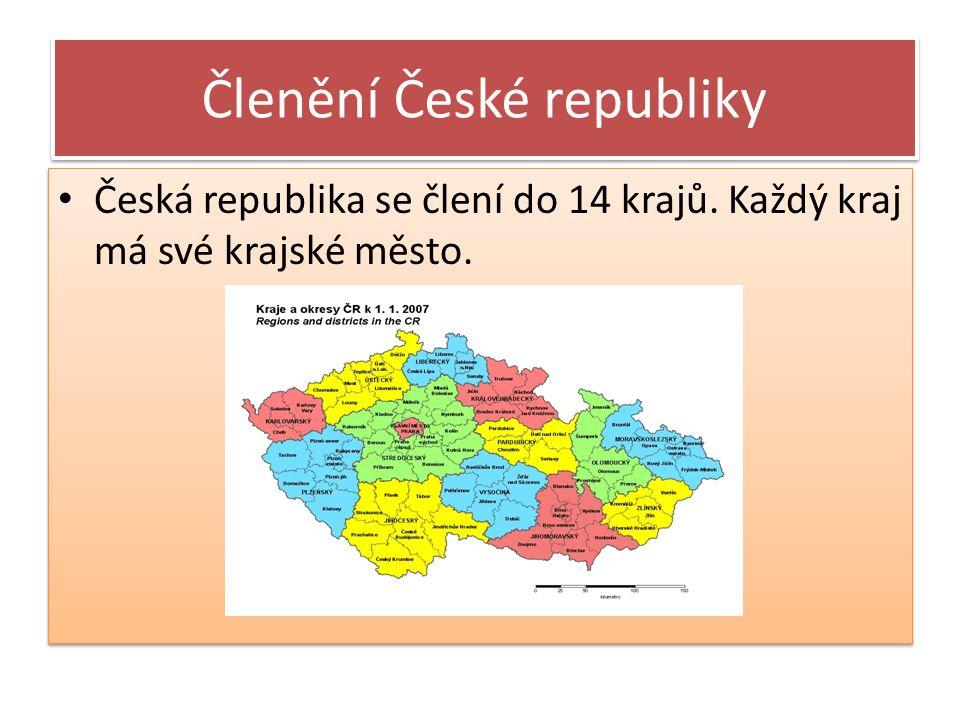 Členění České republiky Česká republika se člení do 14 krajů. Každý kraj má své krajské město.