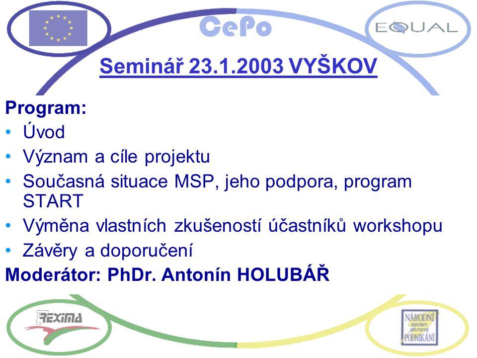 Seminář 23.1.2003 VYŠKOV Program: Úvod Význam a cíle projektu Současná situace MSP, jeho podpora, program START Výměna vlastních zkušeností účastníků