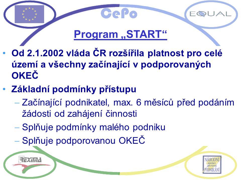 """Program """"START"""" Od 2.1.2002 vláda ČR rozšířila platnost pro celé území a všechny začínající v podporovaných OKEČ Základní podmínky přístupu  Začínají"""