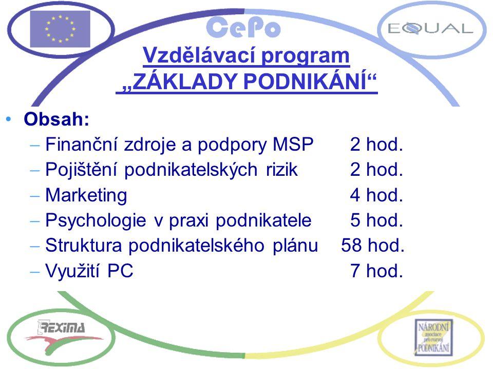 Obsah:  Finanční zdroje a podpory MSP2 hod.  Pojištění podnikatelských rizik2 hod.  Marketing4 hod.  Psychologie v praxi podnikatele5 hod.  Struk