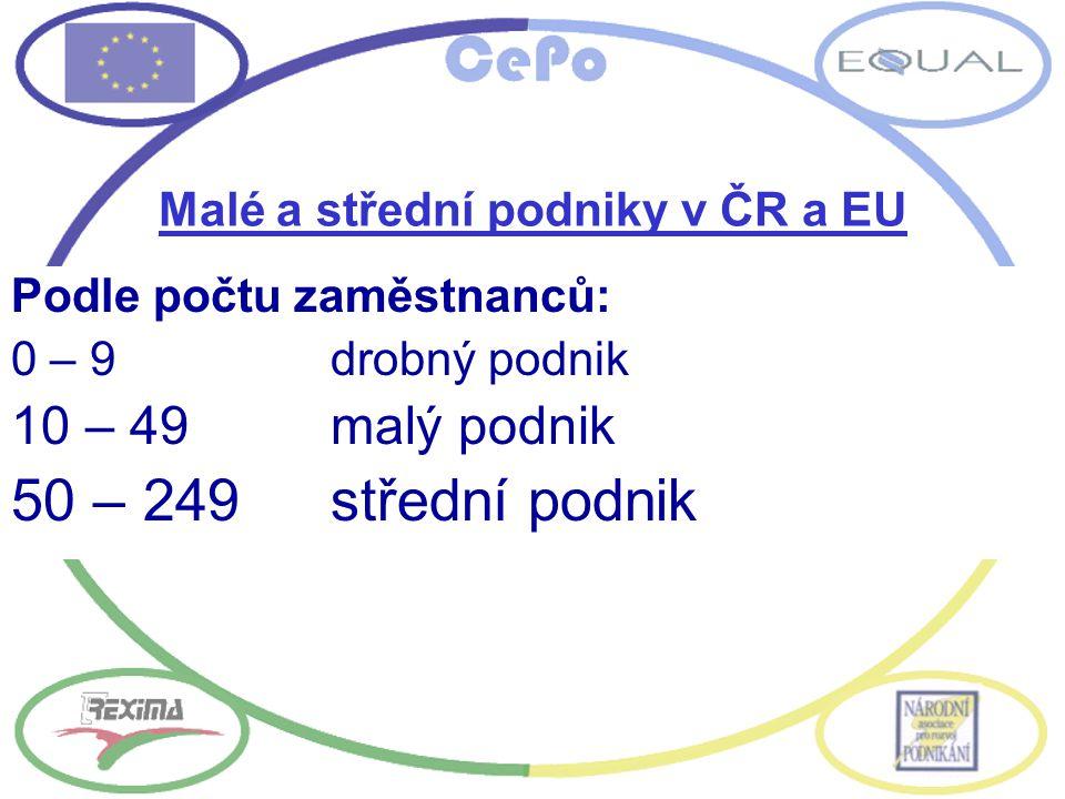 Malé a střední podniky v ČR a EU Podle počtu zaměstnanců: 0 – 9drobný podnik 10 – 49malý podnik 50 – 249střední podnik