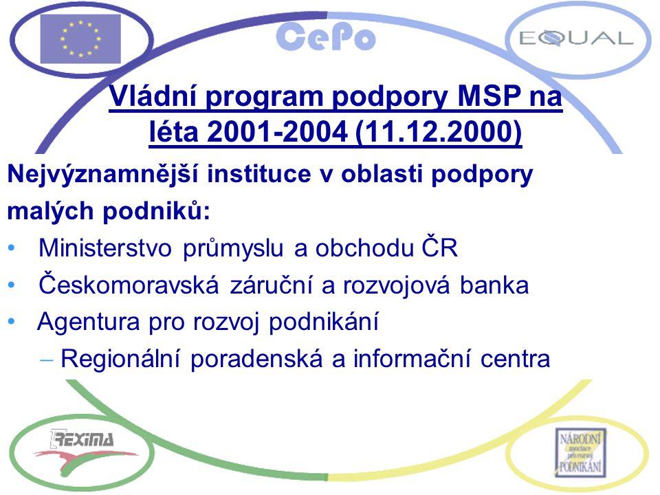 Vládní program podpory MSP na léta 2001-2004 (11.12.2000) Nejvýznamnější instituce v oblasti podpory malých podniků: Ministerstvo průmyslu a obchodu Č