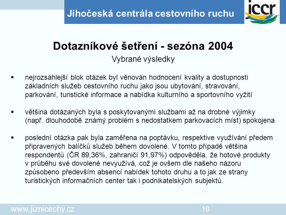 Jihočeská centrála cestovního ruchu www.jiznicechy.cz 10  nejrozsáhlejší blok otázek byl věnován hodnocení kvality a dostupnosti základních služeb ce