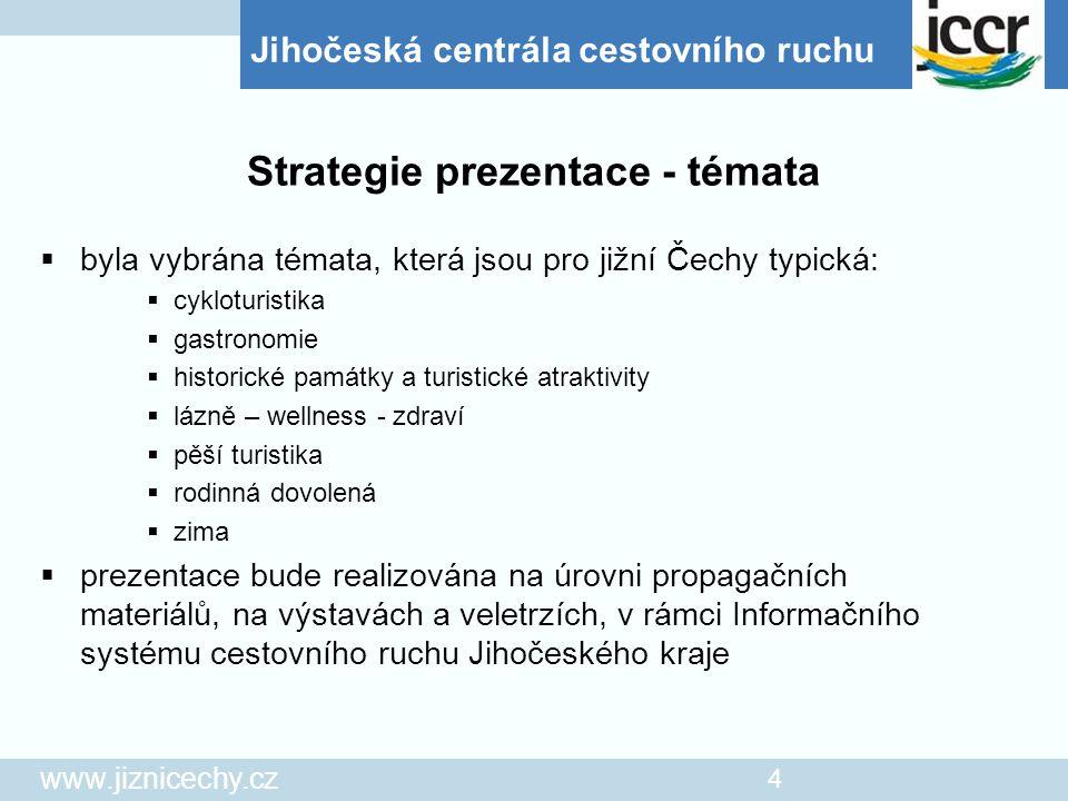 Jihočeská centrála cestovního ruchu www.jiznicechy.cz 4  byla vybrána témata, která jsou pro jižní Čechy typická:  cykloturistika  gastronomie  hi