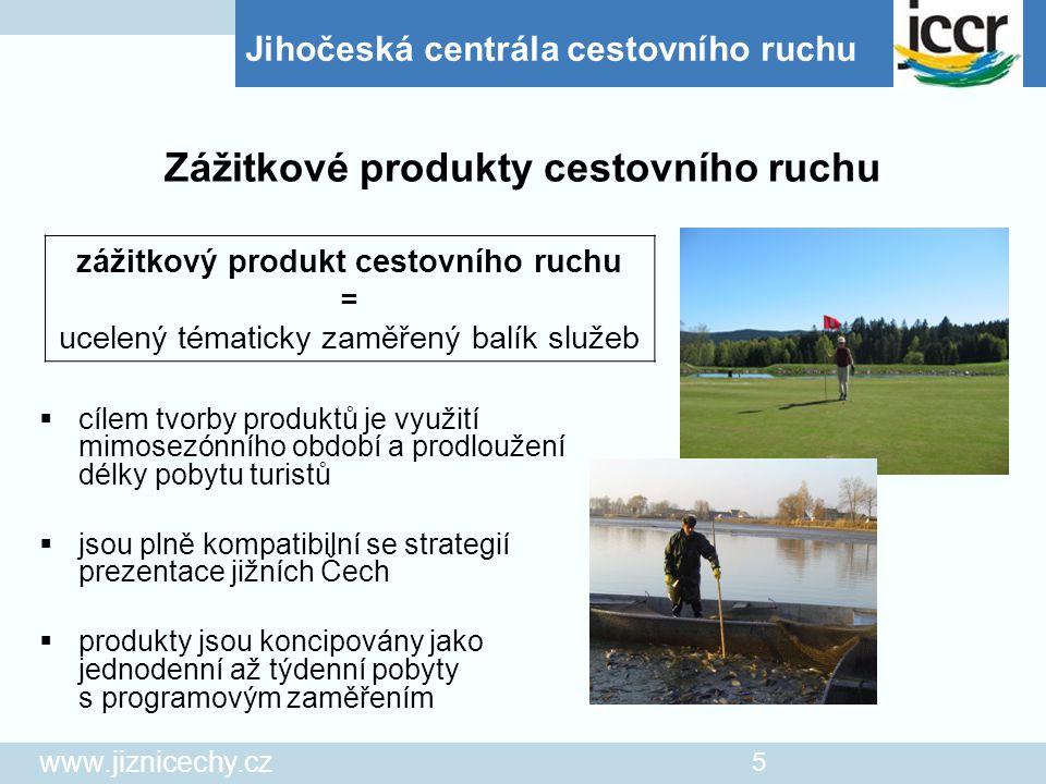 """Jihočeská centrála cestovního ruchu www.jiznicechy.cz 6  při realizaci produktů je počítáno se zapojením jihočeských měst, obcí i podnikatelů v oblasti cestovního ruchu  JCCR realizuje produkt """"Výlov jihočeského rybníka a """"Jihočeské pivní stezky  v roce 2005 bude započato s realizací produktu """"Golfová dovolená  JCCR vedle produktů, které sama vytváří, podporuje produkty již vzniklé či vznikající z aktivity obcí i podnikatelů Zážitkové produkty cestovního ruchu"""