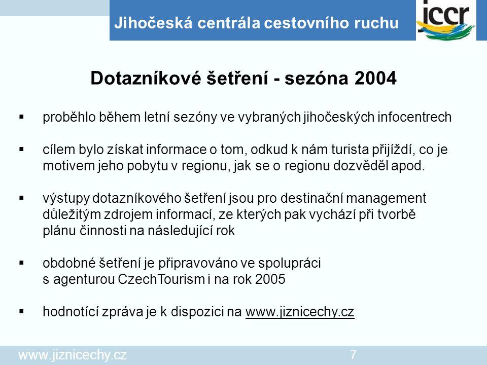 Jihočeská centrála cestovního ruchu www.jiznicechy.cz 7  proběhlo během letní sezóny ve vybraných jihočeských infocentrech  cílem bylo získat inform