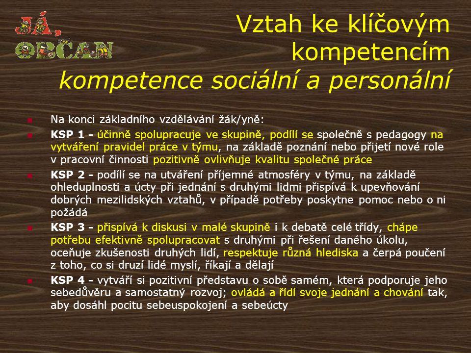 Vztah ke klíčovým kompetencím kompetence sociální a personální Na konci základního vzdělávání žák/yně: KSP 1 - účinně spolupracuje ve skupině, podílí