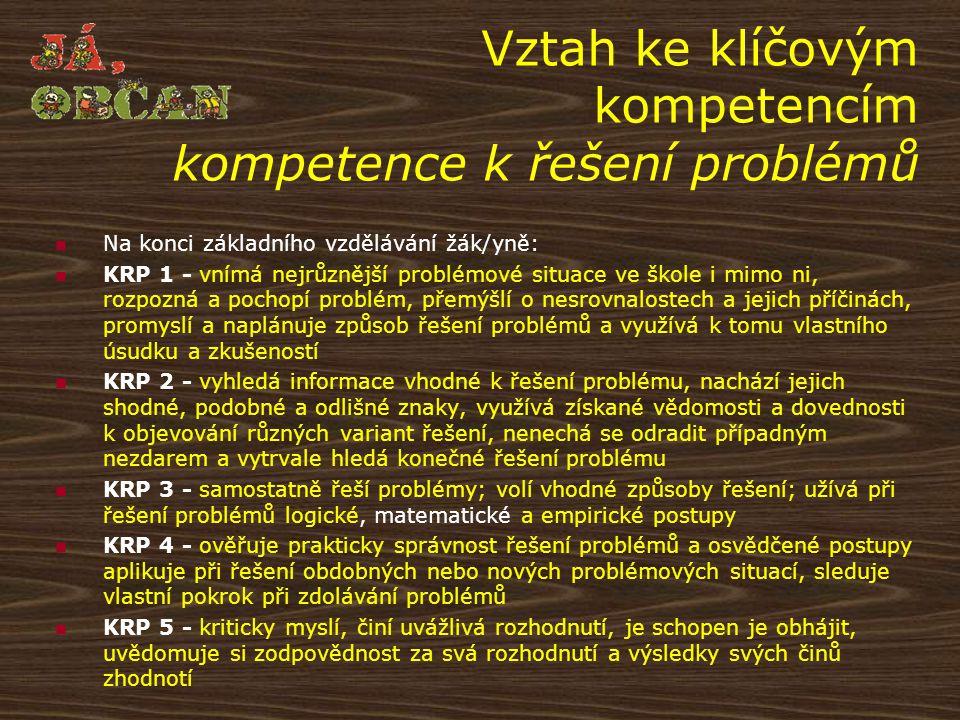 Vztah ke klíčovým kompetencím kompetence k řešení problémů Na konci základního vzdělávání žák/yně: KRP 1 - vnímá nejrůznější problémové situace ve ško