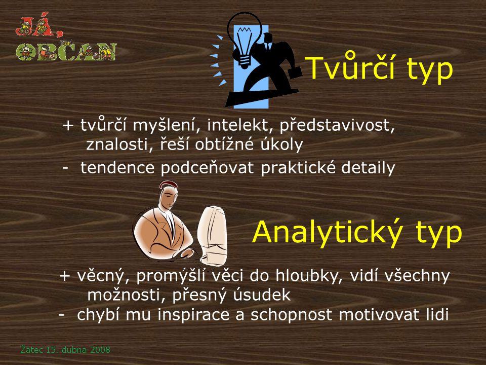 Tvůrčí typ + tvůrčí myšlení, intelekt, představivost, znalosti, řeší obtížné úkoly - tendence podceňovat praktické detaily + věcný, promýšlí věci do h
