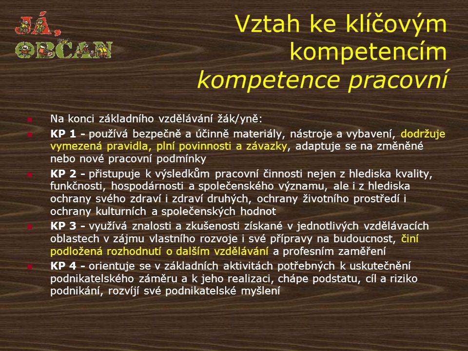 Vztah ke klíčovým kompetencím kompetence pracovní Na konci základního vzdělávání žák/yně: KP 1 - používá bezpečně a účinně materiály, nástroje a vybav