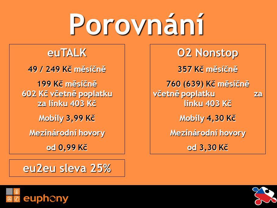 Porovnání euTALK 49 / 249 Kč měsíčně 199 Kč měsíčně 602 Kč včetně poplatku za linku 403 Kč Mobily 3,99 Kč Mezinárodní hovory od 0,99 Kč O2 Nonstop 357