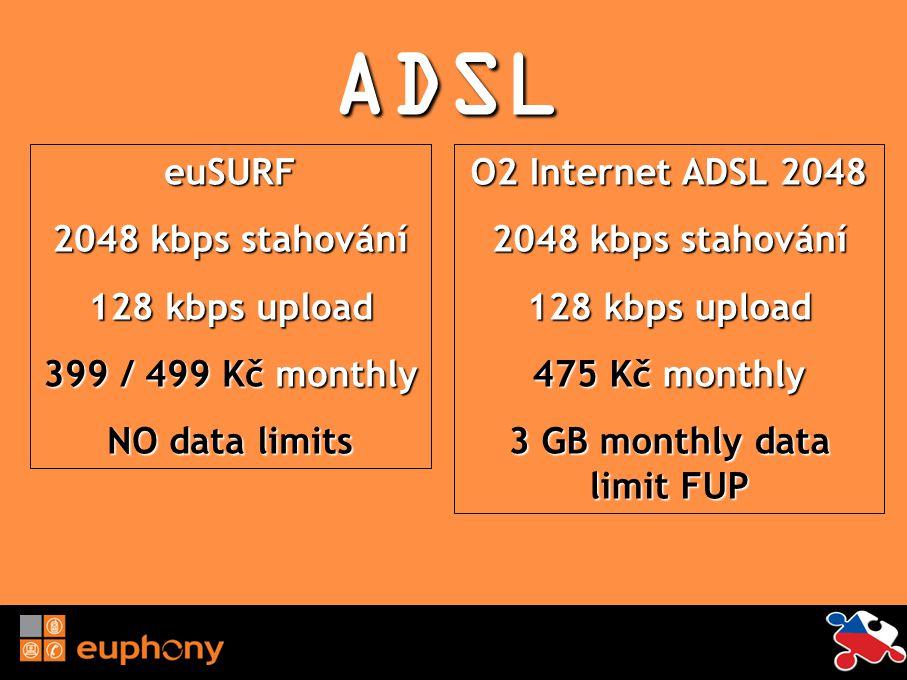 ADSL euSURF 2048 kbps stahování 128 kbps upload 399 / 499 Kč monthly NO data limits O2 Internet ADSL 2048 2048 kbps stahování 128 kbps upload 475 Kč m