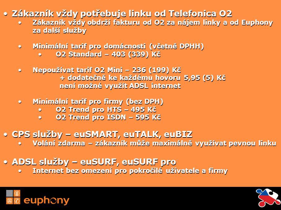 euSMART Neomezené volání do pevných sítí mimo špičku Mimo špičku: 19.00 – 7.00 49 Kč měsíčně prvních 6 měsíců poté 89 Kč měsíčně Průměrně po dobu trvání smlouvy 79 Kč měsíčně Velmi výhodné tarify pro volání do zahraničí od 0,99 a mobilním operátorům 3,99 Kč Hovory ve špičce na pevné linky 1,05 Kč eu2eu: sleva 25% na hovory zákazníkům Euphony CR na pevné linky
