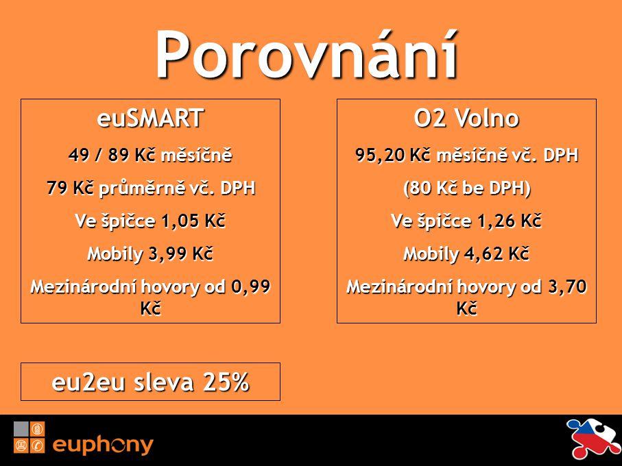Porovnání euSMART 49 / 89 Kč měsíčně 79 Kč průměrně vč. DPH Ve špičce 1,05 Kč Mobily 3,99 Kč Mezinárodní hovory od 0,99 Kč O2 Volno 95,20 Kč měsíčně v