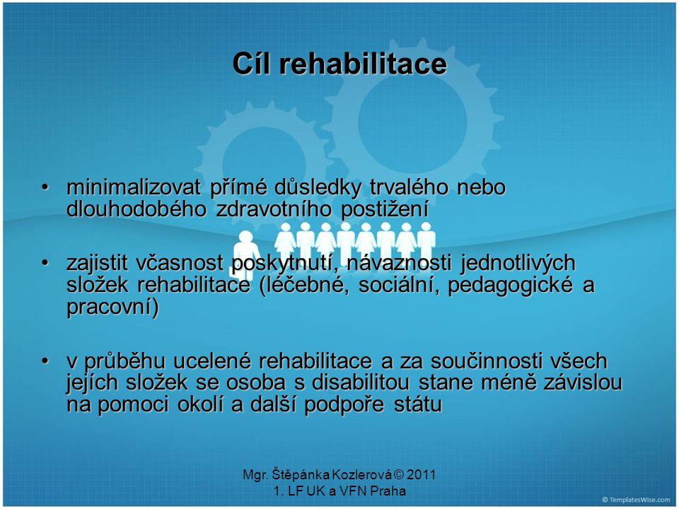 Mgr. Štěpánka Kozlerová © 2011 1. LF UK a VFN Praha Cíl rehabilitace minimalizovat přímé důsledky trvalého nebo dlouhodobého zdravotního postiženímini