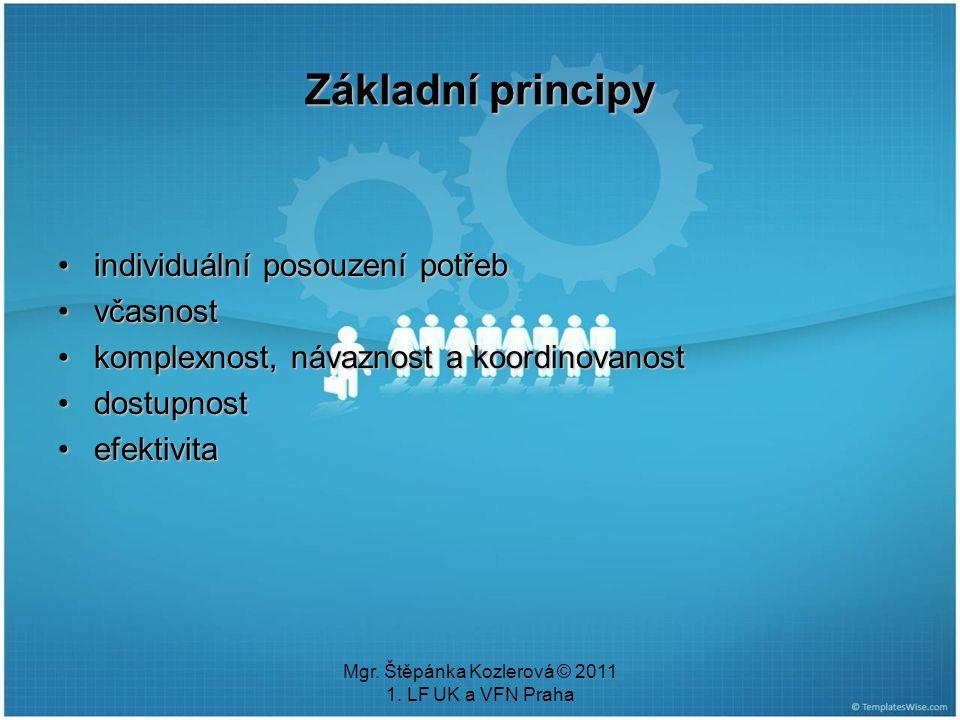 Mgr. Štěpánka Kozlerová © 2011 1. LF UK a VFN Praha Základní principy individuální posouzení potřebindividuální posouzení potřeb včasnostvčasnost komp