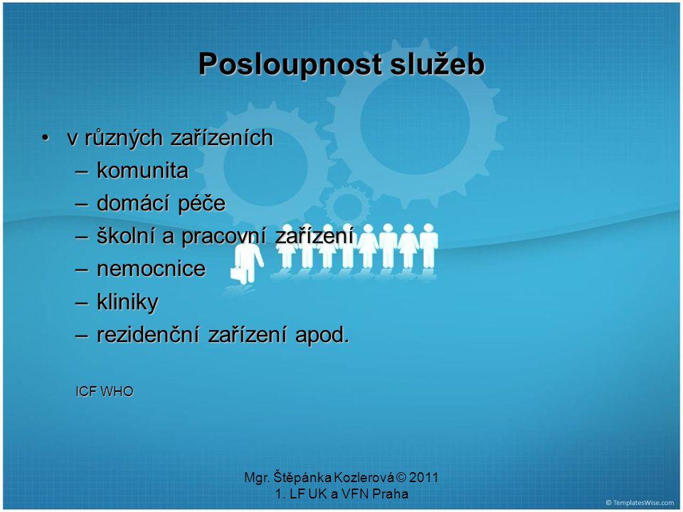 Mgr. Štěpánka Kozlerová © 2011 1. LF UK a VFN Praha Posloupnost služeb v různých zařízeníchv různých zařízeních –komunita –domácí péče –školní a praco