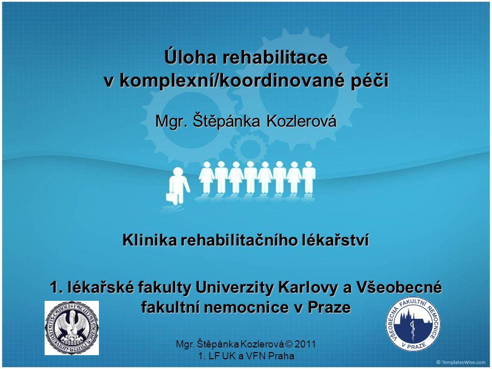 Mgr.Štěpánka Kozlerová © 2011 1. LF UK a VFN Praha Pracovní rehabilitace zákon 435/2004 Sb.