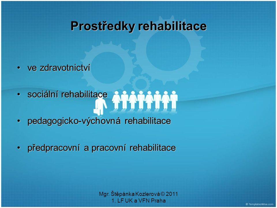 Mgr. Štěpánka Kozlerová © 2011 1. LF UK a VFN Praha Prostředky rehabilitace ve zdravotnictvíve zdravotnictví sociální rehabilitacesociální rehabilitac