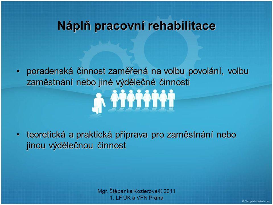 Mgr. Štěpánka Kozlerová © 2011 1. LF UK a VFN Praha Náplň pracovní rehabilitace poradenská činnost zaměřená na volbu povolání, volbu zaměstnání nebo j