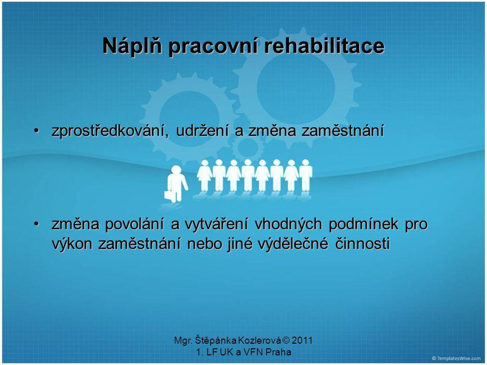 Mgr. Štěpánka Kozlerová © 2011 1. LF UK a VFN Praha Náplň pracovní rehabilitace zprostředkování, udržení a změna zaměstnánízprostředkování, udržení a