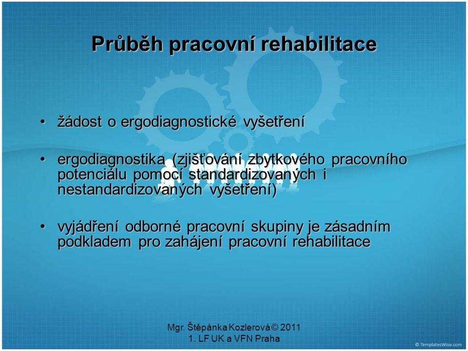Mgr. Štěpánka Kozlerová © 2011 1. LF UK a VFN Praha Průběh pracovní rehabilitace žádost o ergodiagnostické vyšetřenížádost o ergodiagnostické vyšetřen