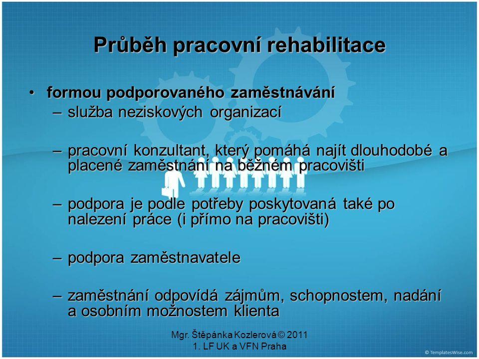 Mgr. Štěpánka Kozlerová © 2011 1. LF UK a VFN Praha Průběh pracovní rehabilitace formou podporovaného zaměstnáváníformou podporovaného zaměstnávání –s