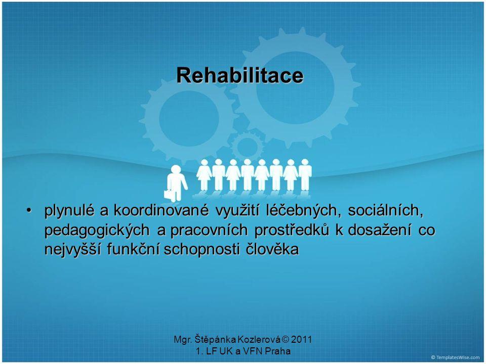 Mgr. Štěpánka Kozlerová © 2011 1. LF UK a VFN Praha Rehabilitace plynulé a koordinované využití léčebných, sociálních, pedagogických a pracovních pros
