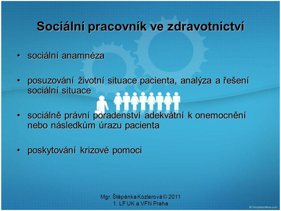 Mgr. Štěpánka Kozlerová © 2011 1. LF UK a VFN Praha Sociální pracovník ve zdravotnictví sociální anamnézasociální anamnéza posuzování životní situace
