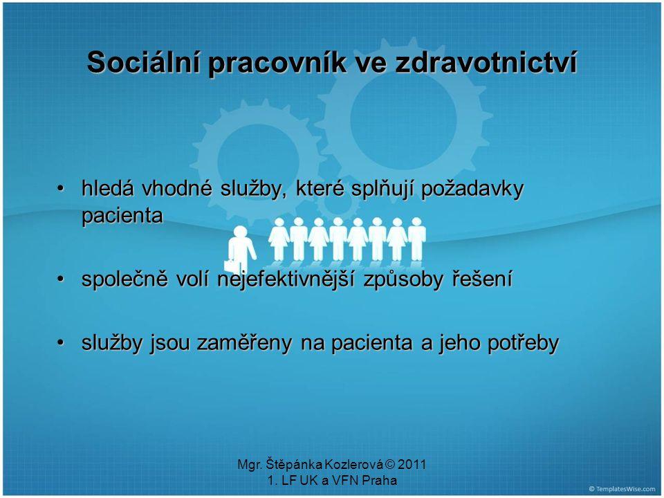 Mgr. Štěpánka Kozlerová © 2011 1. LF UK a VFN Praha hledá vhodné služby, které splňují požadavky pacientahledá vhodné služby, které splňují požadavky