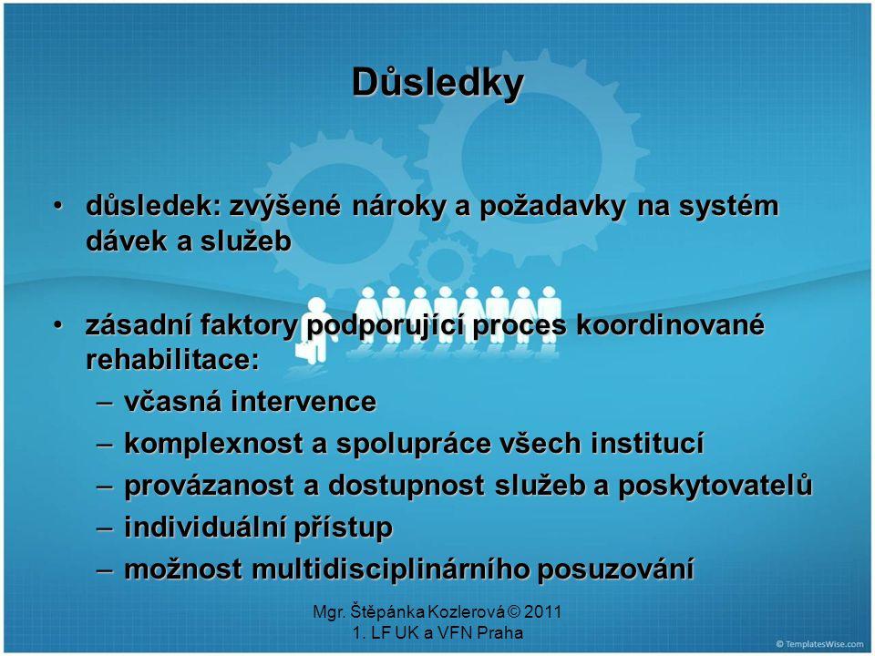 Mgr. Štěpánka Kozlerová © 2011 1. LF UK a VFN Praha Důsledky důsledek: zvýšené nároky a požadavky na systém dávek a služebdůsledek: zvýšené nároky a p