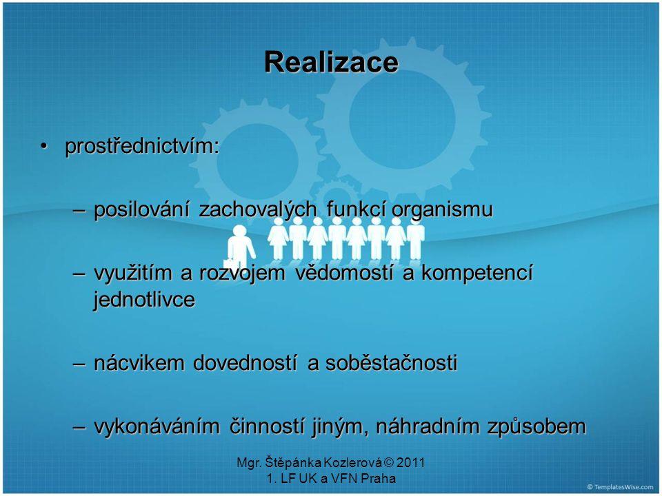 Mgr. Štěpánka Kozlerová © 2011 1. LF UK a VFN Praha Realizace prostřednictvím:prostřednictvím: –posilování zachovalých funkcí organismu –využitím a ro