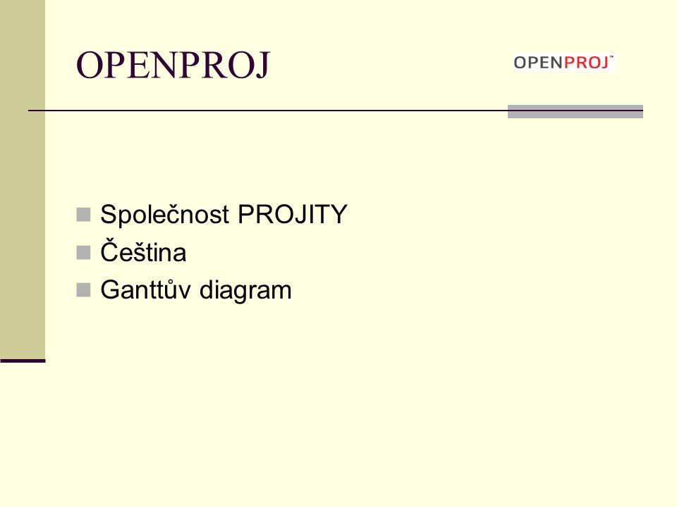 OPENPROJ Výhody Volně dostupný Srovnatelný s MS Project Nevýhody Nemožné spolupracovat on-line Pro on-line práci nutná upgrade verze – Project-on-Demand