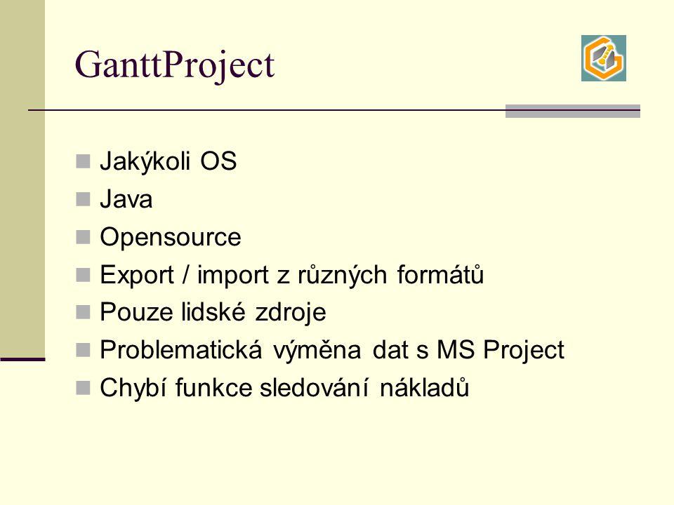 GanttProject Jakýkoli OS Java Opensource Export / import z různých formátů Pouze lidské zdroje Problematická výměna dat s MS Project Chybí funkce sledování nákladů