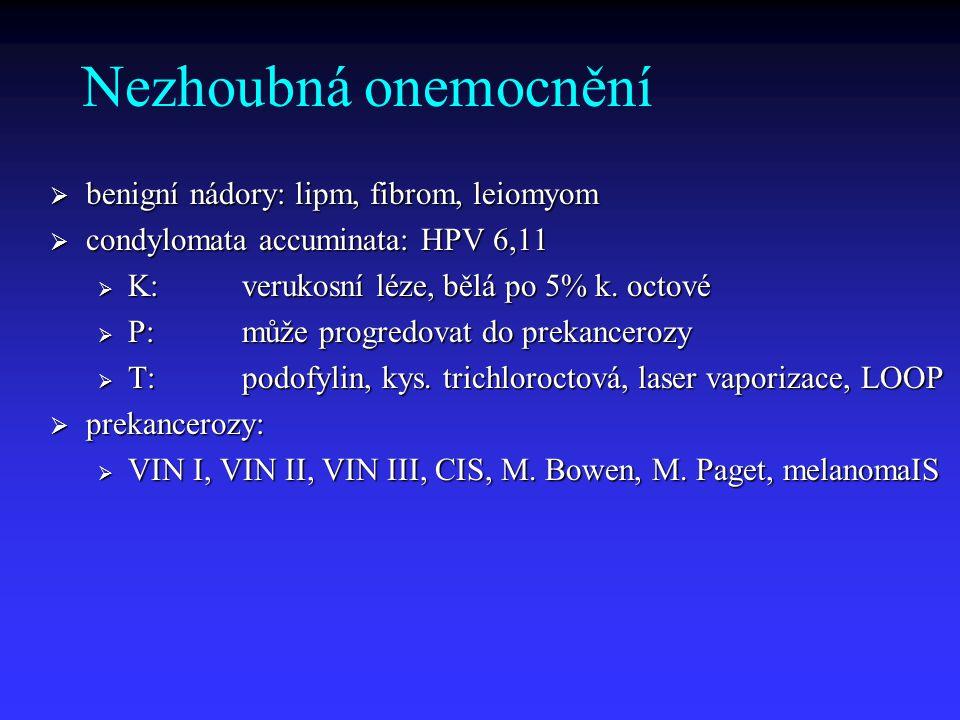 Kazuistika 3 Pacientka: 65 let Dg.: excize 10x10 mm, spinocelulární karcinom přesahující okraj excize, lokalizace pravé lábium Operace:SLNM (LU pos), vulvektomie radikální s inguinofemorální LE Histologie:spinocelulární karcinom, reziduum po předchozí excizi 12x5 mm, celkem 16 LU, 2 positivní (bilaterálně), jedna LU s infiltrací okolní tukové tkáně Řešení:a) follow up b) radioterapie c) chemoradioterapie.