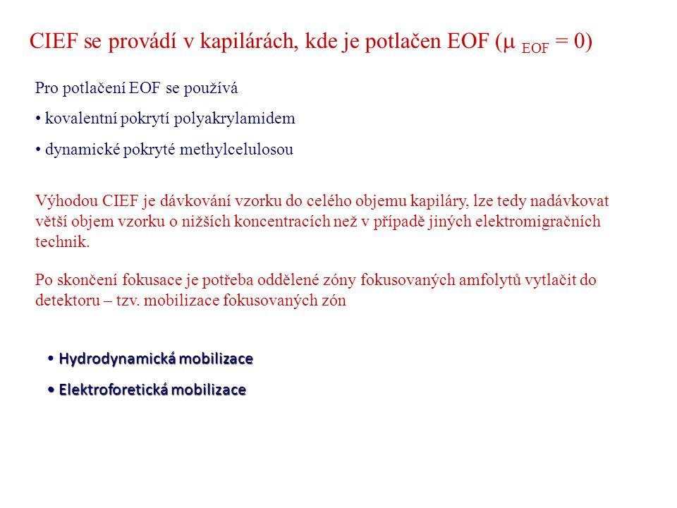 CIEF se provádí v kapilárách, kde je potlačen EOF (  EOF = 0) Pro potlačení EOF se používá kovalentní pokrytí polyakrylamidem dynamické pokryté meth