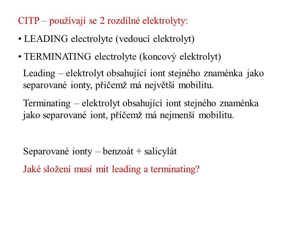 CITP – používají se 2 rozdílné elektrolyty: LEADING electrolyte (vedoucí elektrolyt) TERMINATING electrolyte (koncový elektrolyt) Leading – elektrolyt