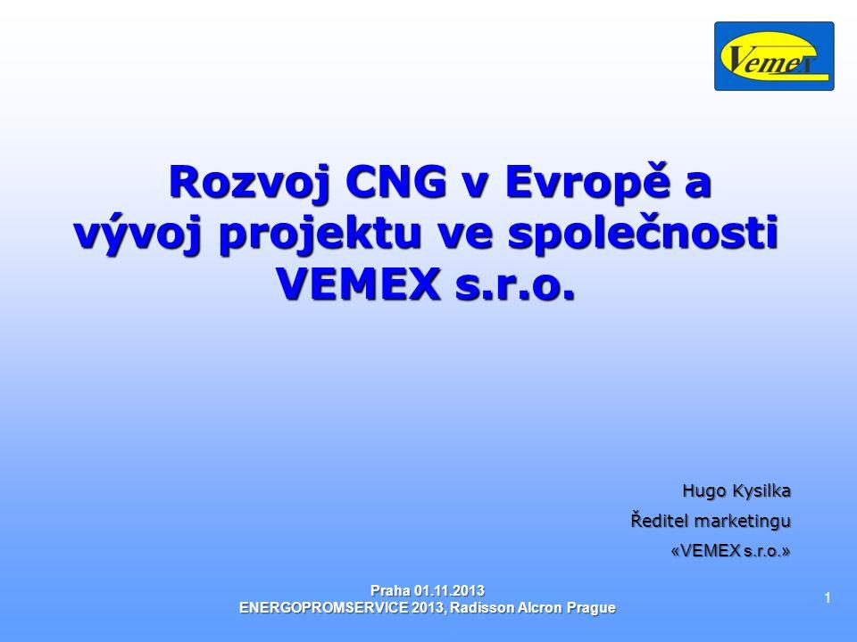 Obsah: Obsah: 1.CNG-Unikátní kombinace způsobená přírodou 2.Ekologie a ekonomika 3.Komplexní využití zemního plynu v dopravě CNG/LNG 4.Světová a evropská statistika 4.1 Situace na trhu CNG v České Republice 4.2 Statistika NGV 5.CNG v společnosti VEMEX s.r.o.