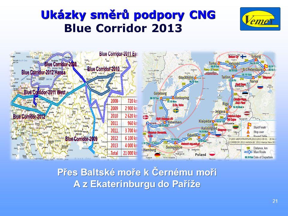 21 Ukázky směrů podpory CNG Blue Corridor 2013 Přes Baltské moře k Černému moři A z Ekaterinburgu do Paříže
