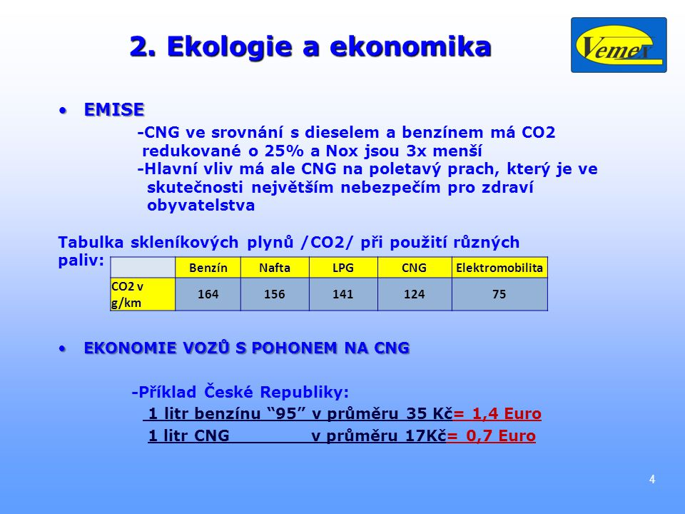 2. Ekologie a ekonomika EMISEEMISE -CNG ve srovnání s dieselem a benzínem má CO2 redukované o 25% a Nox jsou 3x menší -Hlavní vliv má ale CNG na polet