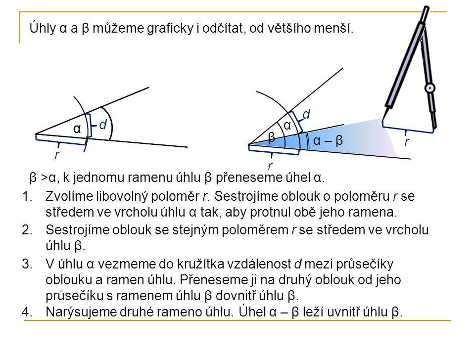 α Úhly α a β můžeme graficky i odčítat, od většího menší. β >α, k jednomu ramenu úhlu β přeneseme úhel α. α r r r d d β 2.Sestrojíme oblouk se stejným